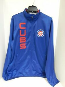 Chicago Cubs MENS Jacket Zip Up Blue/Red GIII Sample -Large