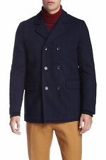 BEN SHERMAN Wool Blend Herringbone Peacoat Blazer in Navy Size L / XL  NWT $225