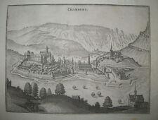 SAVOIE - VUE DE CHAMBERY du XVIIème siècle - Gravure à l'eau-forte LES ALPES