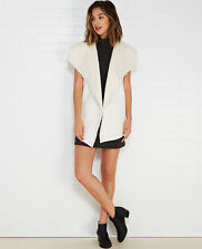 New $50 ALMOST FAMOUS Junior Womens Size M Draped Faux-Suede Sherpa Vest Cream