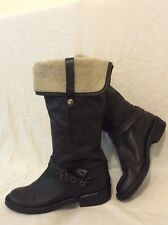 Carl Scarpa Black Mid Calf Leather Boots Size 38