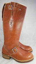 BROWNING VINTAGE RARE MAN TAN LEATHER ENGINEER MOTORCYCLE BOOTS SZ 7.5 D NEW