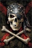 PIRATE ~ SKULL AND CROSS BONES ~ 24x36 FANTASY ART POSTER ~ Death NEW/ROLLED!