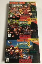 Donkey Kong Country 1 + 2 + 3 SNES Super Nintendo CIB Complete Nr Mint Lot