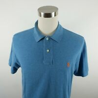 Polo Ralph Lauren Mens Cotton Short Sleeve Solid Blue Polo Shirt Large