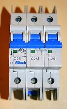 New Altech 3CU25L Circuit Breaker; Therm/Mag; Hndl; Cur-Rtg 25A; DIN Rail 3 Pole
