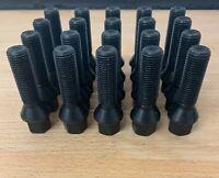 20 X M14 X 1.5 BLACK TAPERED 40MM ALLOY WHEEL BOLTS FIT AUDI A4 B5 B6  B7 B8 B9