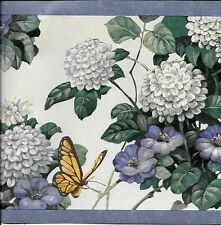 Country Blue and White Flowers and Butterflies with Blue Trim WALLPAPER BORDER