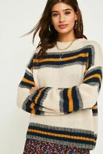 New Urban Outfitters Beige Stripe Wool Blend Jumper, X-Small, RRP £48