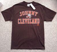 new JOHNNY CLEVELAND T-SHIRT Brown/Orange/White NFL Manziel Alternate Logo LARGE