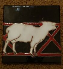 Calm Sheep Lamb by the Fence Art Tile By Elaine Cain 6 X 6 Black background
