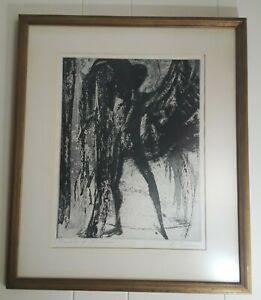 Dream of Icarus by Elizabeth Delson Signed Framed Aquatint Etching Original 1963