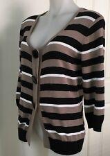 GORDON SMITH 3/4 Sleeved Cardigan Size M Black Brown White Striped EXCELLENT