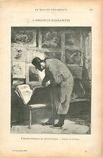 l'Amateur d'Estampes par Honoré Daumier Monument à Valmondois GRAVURE PRINT 1900