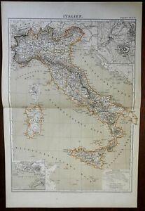 Italy Corsica Sardinia Sicily Naples Rome 1874 Brockhaus Lange color map