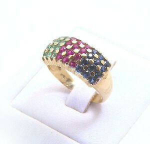 SAPPHIRES, RUBIES AND EMERALDS  BAND RING 14k 1.08ct GEMSTONES SIZE 8 OR P