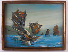 """Asian Oil on Canvas Framed Painting of Chinese Junk Boats Signed """"Wong"""""""