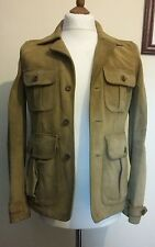 POLO RALPH LAUREN Suede Leather Jacket Tan size US 6 UK 8 Medium £860