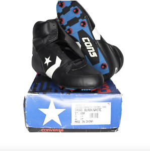 NOS Vintage 90s Converse Cons Invader Hi Leather Football Cleats Black Mens 11.5
