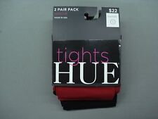 NWT Women's Hue Opaque Tights 2 Pair Size 1 Black/Deep Red #891K