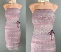 KAY UNGER Strapless Purple Dress 10 Sheath Fitted LACE Lavender Cocktail *1008