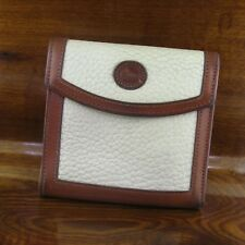 Dooney & Bourke White & Tan Pebbled Leather Kiss Lock Bifold Wallet Coin Purse