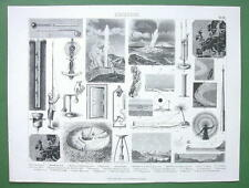 METEOROLOGY Instruments Phenomena Mirage Halo  - 1870s Original Print Engraving