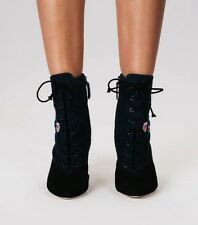NEW TORY BURCH Sz 6.5 CASSIDY 45mm LACE UP EMBROIDERED SUEDE ANKLE BOOTIES $528