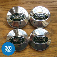 4 NEW GENUINE LAND ROVER ALLOY WHEEL CENTRE CAPS POLISHED CHROME RANGE LR023301