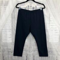 J Jill Women Size Small Navy Blue Capri Leggings Pants Elastic Waist Stretch B35