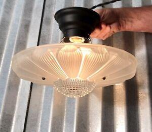 Antique vintage flush mount ceiling light hanging glass shade
