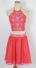 NEW Alex & Sopkia Coral size 13 Juniors Cocktail Halter Evening Short Dress