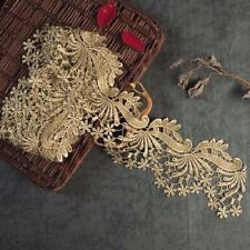 Metallic Lace Trimming Golden Embroidered Lace Edge Flower Gold Lace Trim 1 Yard