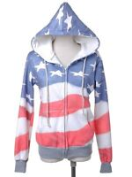 Red White Blue American Flag Zip Up Fashion Hoodie Jacket sport casual size S M