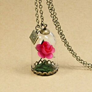 FREE GIFT BAG Bronze Beauty & the Beast Flower Red Rose Cute Necklace Chain Xmas