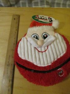 "Ethical pets Flat Jax Holiday Dog Toy 10"" Large Squeaker Disc Christmas Santa"