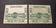 "GERMANIA,Germany  Reich SARRE SAARGEBIET 1922  ""10 c. Variant Colour 86 U"" 2V MH"