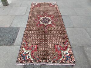 Vintage Traditional Hand Made Oriental Brown Red Wool Long Rug Runner 256x108cm
