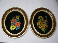 Vintage Rare Folk Art Reverse Hand Painted Glass Foiled Framed Flower Pictures