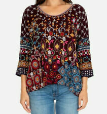 NEW Johnny Was Zora Embroidered Top Blouse Boho Merlot XS