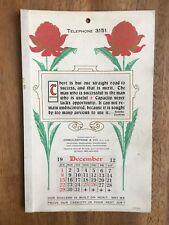 ANTIQUE DECEMBER 1912 CALENDAR BY OSBOLDSTONE & CO MELBOURNE PRINTER ART NOUVEAU