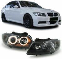 BMW E90 & E91 3 SERIES BLACK ANGEL EYE HEADLIGHTS HEADLAMPS HALOGEN 2005-1/2009