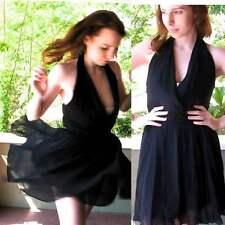Odessa Marilyn Style Halter Dress Black Sheer Chiffon Full Flirty Skirt Chic S/4