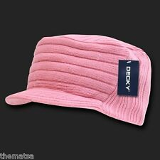 PINK KNIT FLAT TOP JEEP CADET  VISOR BEANIE MILITARY HAT CAP