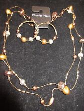 Charles Klein NWT Statement Necklace Earring Set Bronze Layered Beaded Gold CHIC