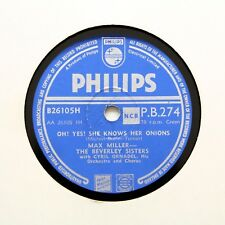 """MAX MILLER & BEVERLEY SISTERS """"She Knows Her Onions"""" PHILIPS PB-274 [78 RPM]"""