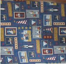 DAISY KINGDOM SAILOR BEAR PATCH FABRIC LIGHTHOUSE SAIL BOATS-QUILTING