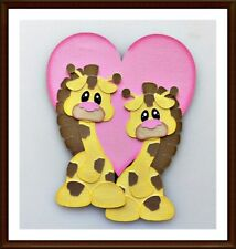 Giraffes Love Handmade Paper Piecing Embellishment 4 Cards Pages SC4S