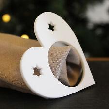 Set of 4 White Heart Shaped Napkin Rings Christmas / Wedding Dinner Table Party