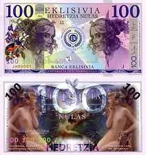 EKLISIVIA 100 Nulas Banknote Fantasy Polymer Money Currency FUN note NOT REAL